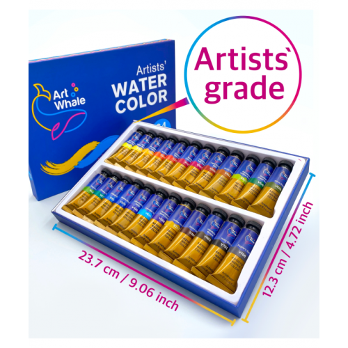 ArtWhale Artists' Watercolor 24 Colors in Tubes 15 ml/0.5 oz